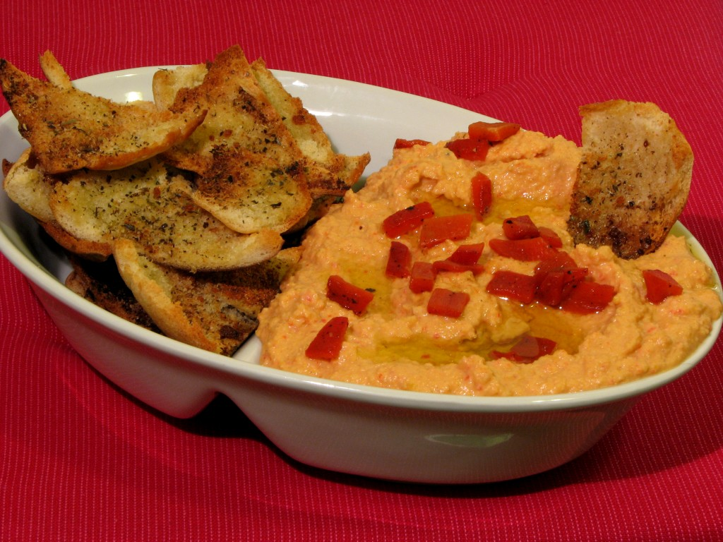 Red Pepper Hummus, Roasted Red Peppers, Pita Chips, Chickpeas
