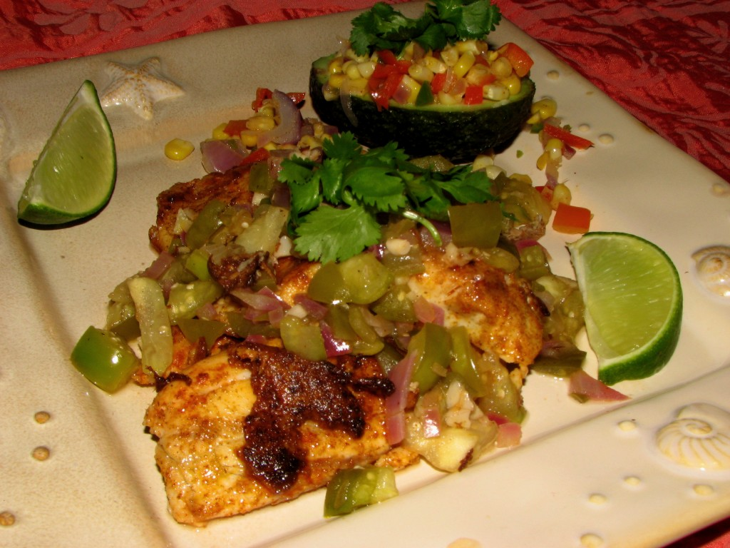 Tilapia with Tomatillo Sauce and Avocados with Creamy Corn and Peppers