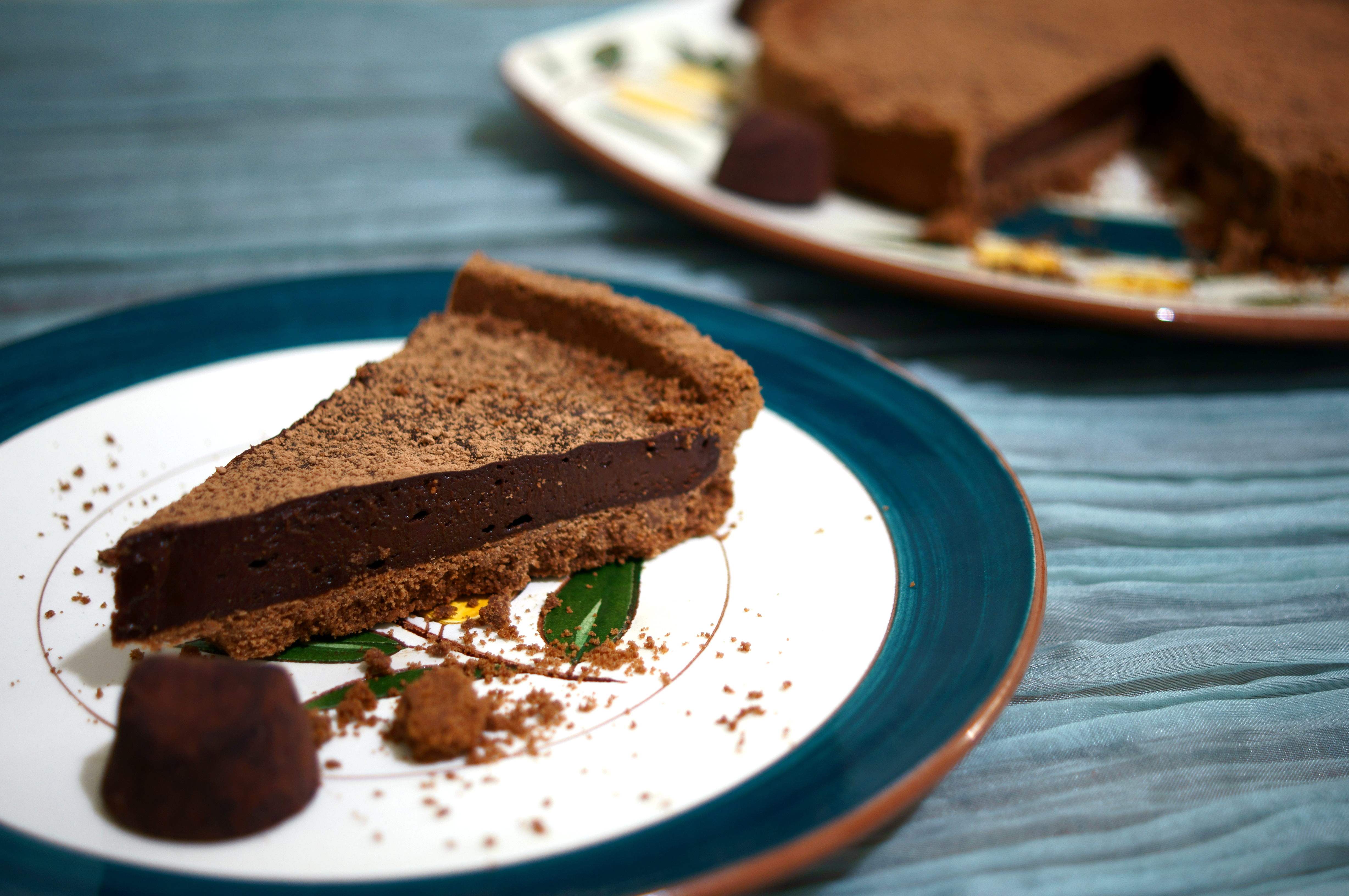 Chocolate Truffle Tart Dusted with Cocoa Powder