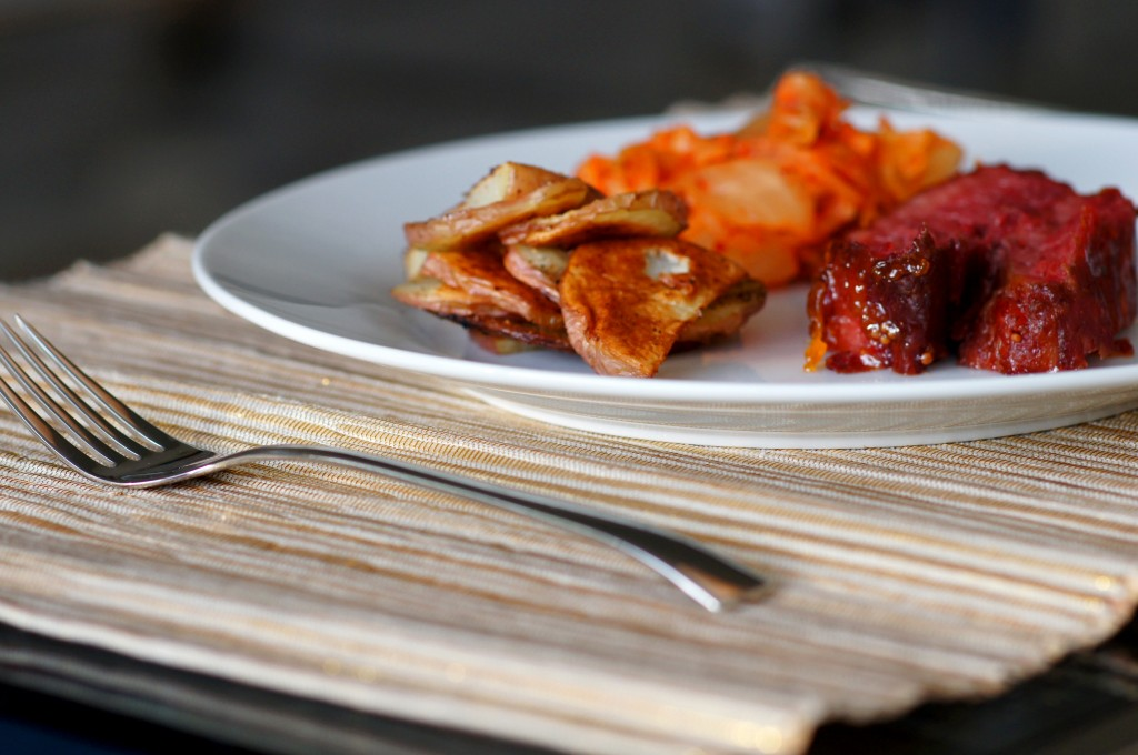 Apricot-Glazed Corned Beef with Kimchi and Potato Crisps
