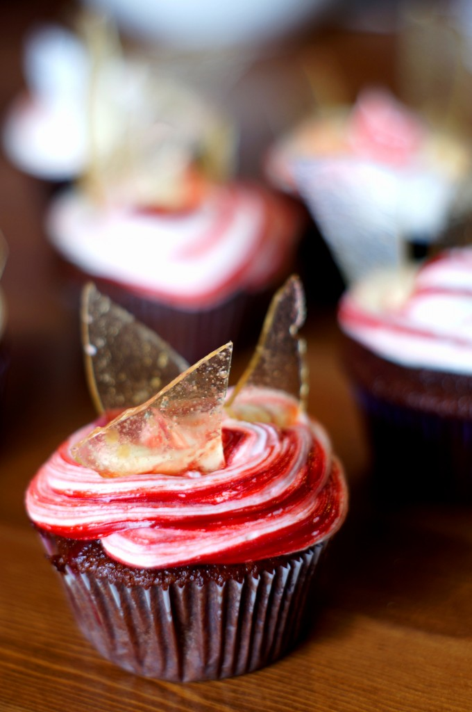 Chocolate Raspberry Glass Cupcake
