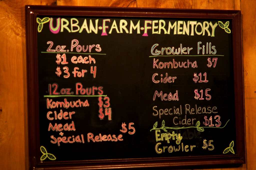 Prices at Urban Farm Fermentory