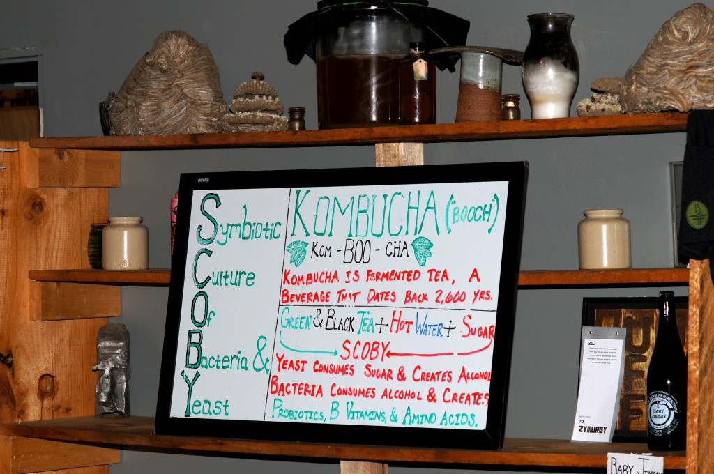 Sign in Office of Urban Fermentory Farm Describing the Kombucha Process