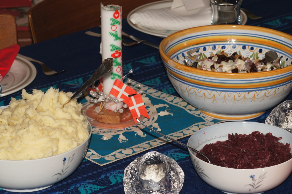 Mashed Potatoes, Waldorf Salad, and Red Cabbage