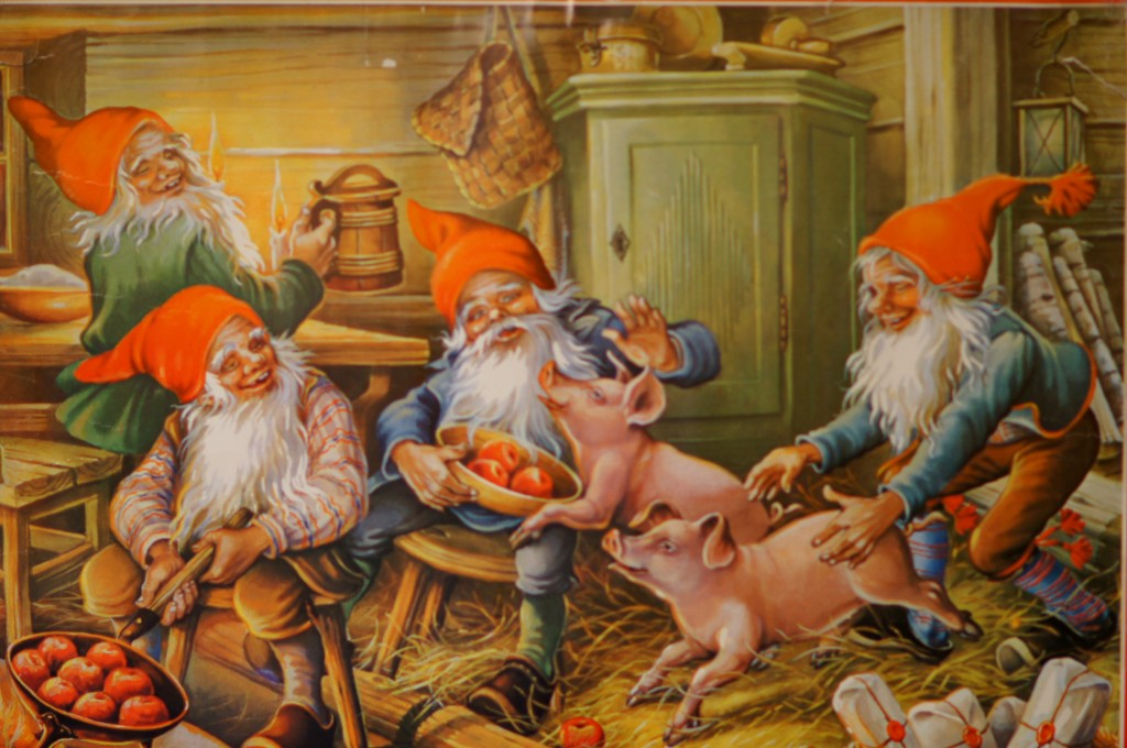 Nisse in Barn with Animals and Gifts