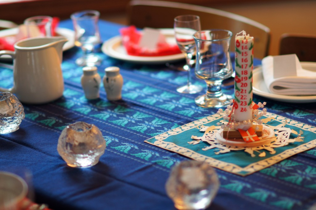Table Setting with Danish Flags and Advent Candle