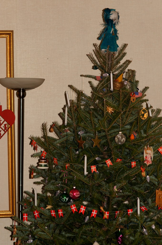 The Christmas Tree Decorated with Danish Flags and Real Candles
