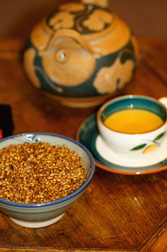 Roasted Barley Grains, Barley Tea, and Teapot