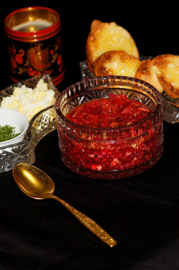 Russian Borscht Soup with Toppings