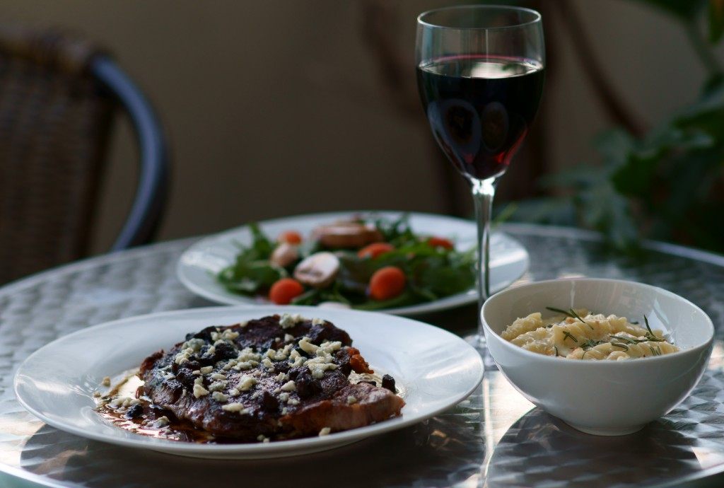 Ribeye Steaks with Red Wine Sauce, Blue Cheese, Pancetta, and Candied Pecans