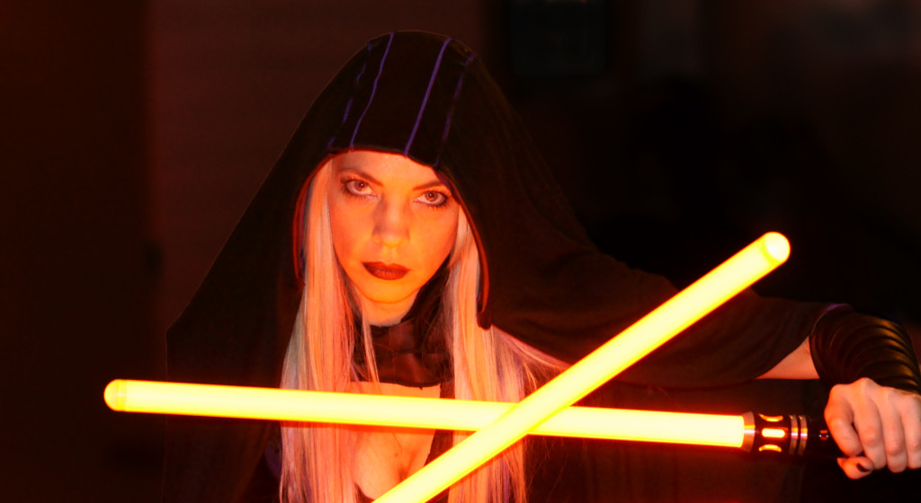 Female Jedi Cosplayer at Dragon Con 2015 with Lightsabers