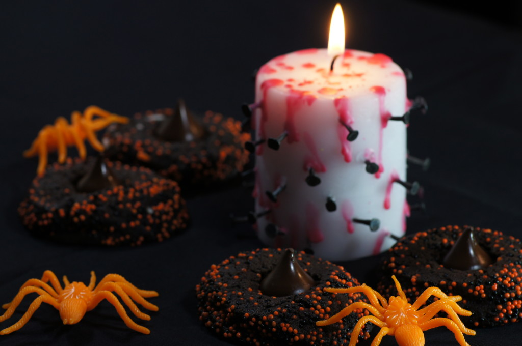 Halloween Chocolate Sprinkle Cookies with Bleeding Candle and Spiders