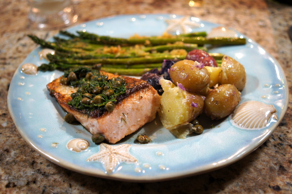 Salmon with Lemon-Dill Butter Sauce and Capers, Garlic-Roasted ...