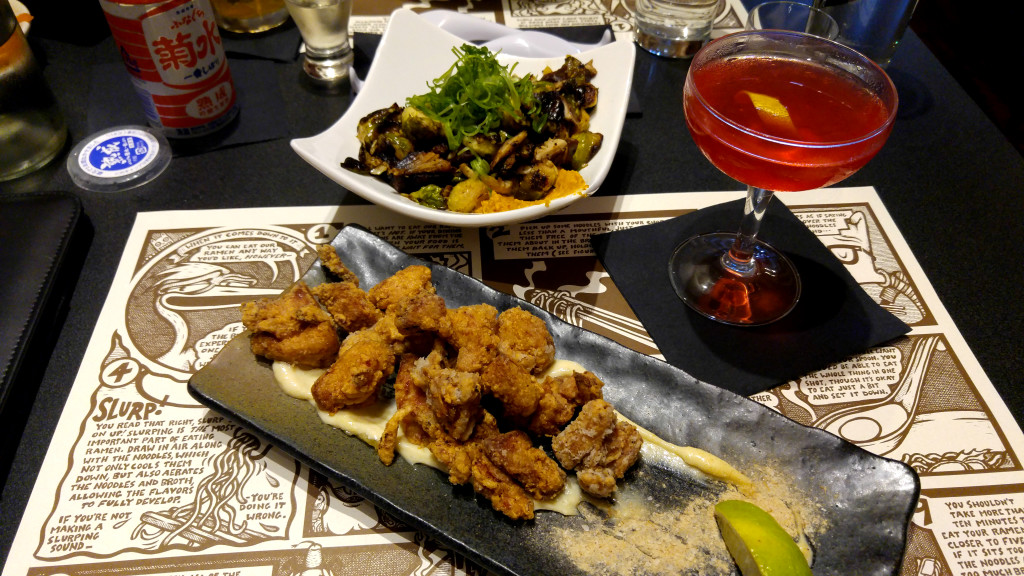 Kimchi Brussel Sprouts, Fox & the Bear Martini, and Kara-Age Chicken
