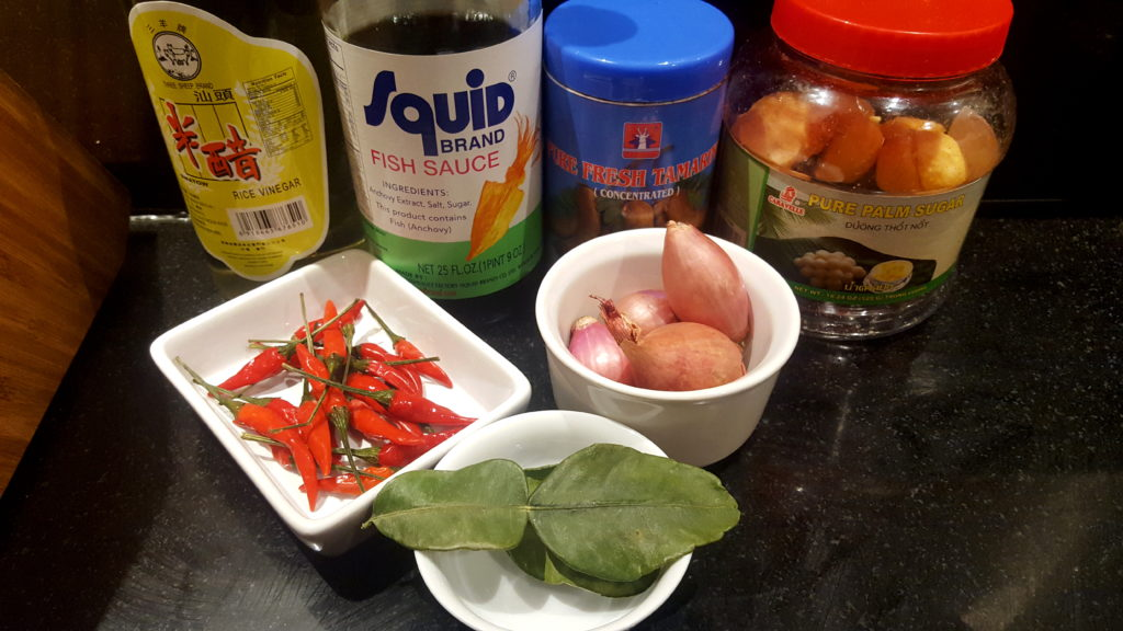 Ingredients for Pad Thai Spring Rolls Tamarind Dipping Sauce