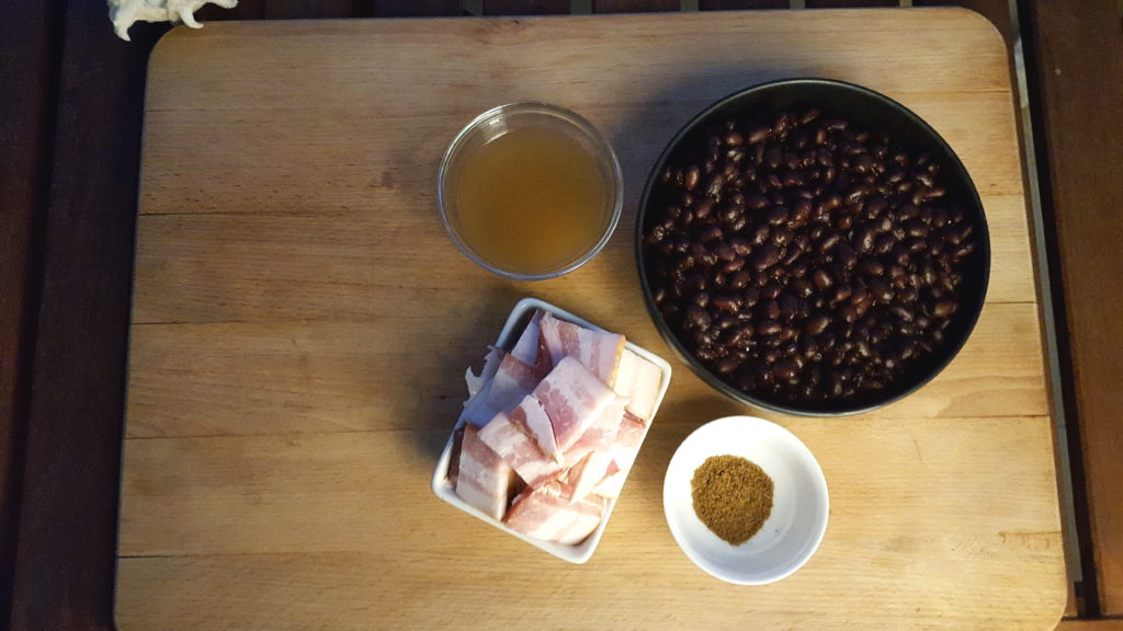 Ingredients for the Cumin Black Beans with Bacon