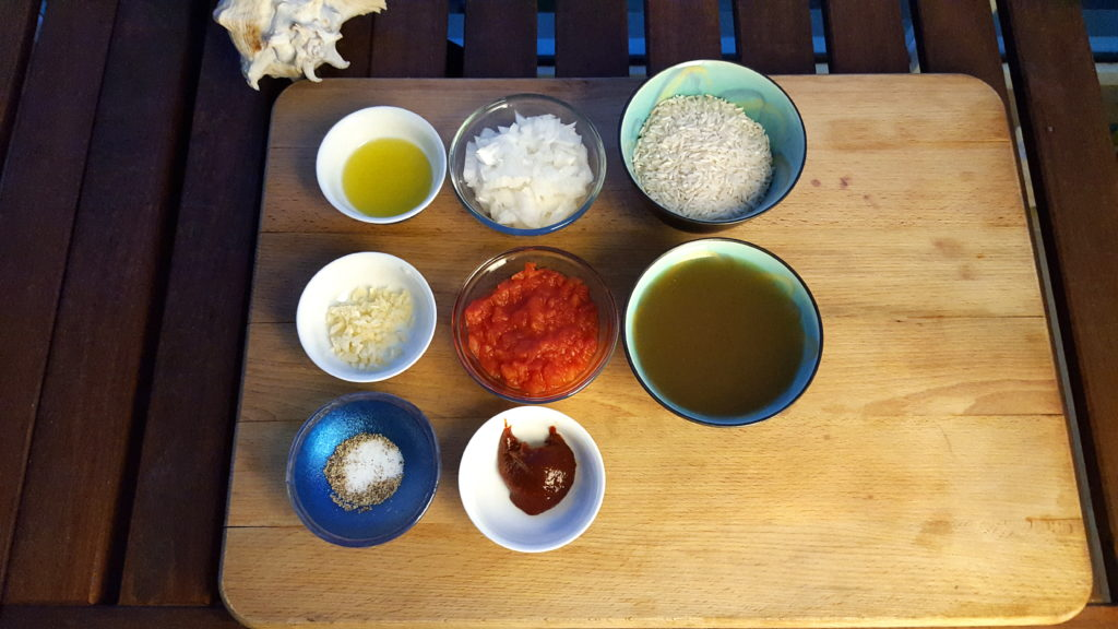 Ingredients for the Mexican-Korean Red Rice