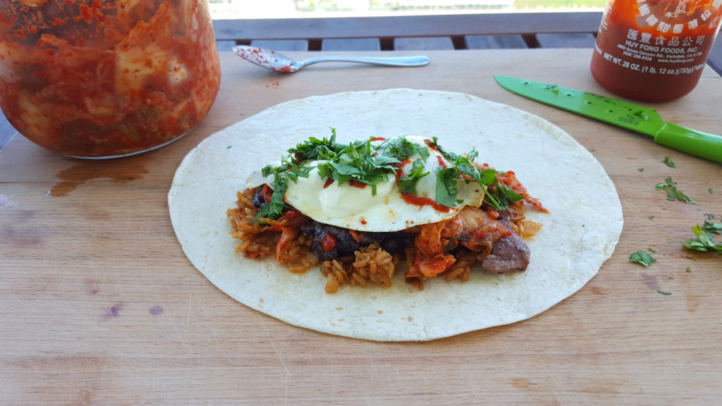 Korean-Mexican Burritos with Kimchi and Red Rice