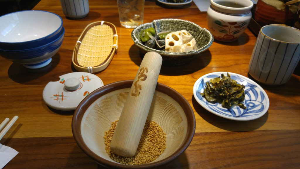 Roasted Sesame Seeds in Mortar and Pestle at Katsukura Restaurant