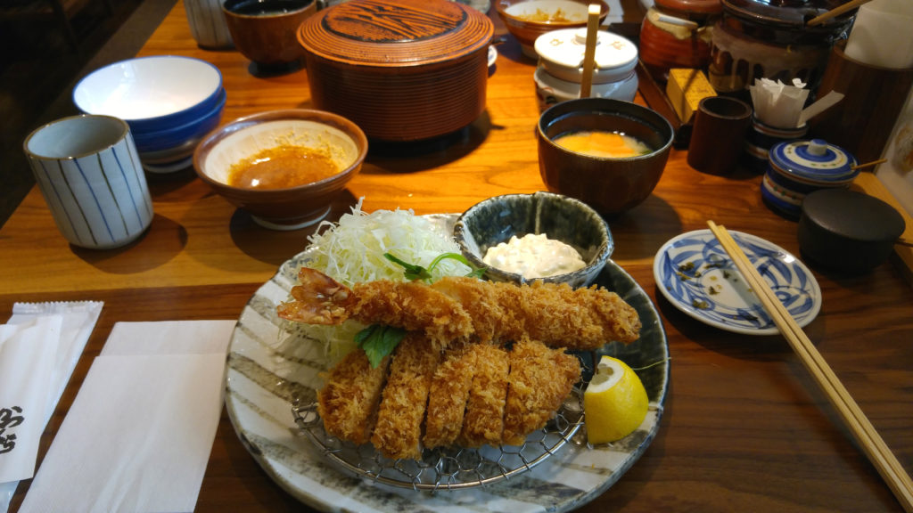 Tonkatsu Pork Filet and Prawn at Katsukura Shinjuku