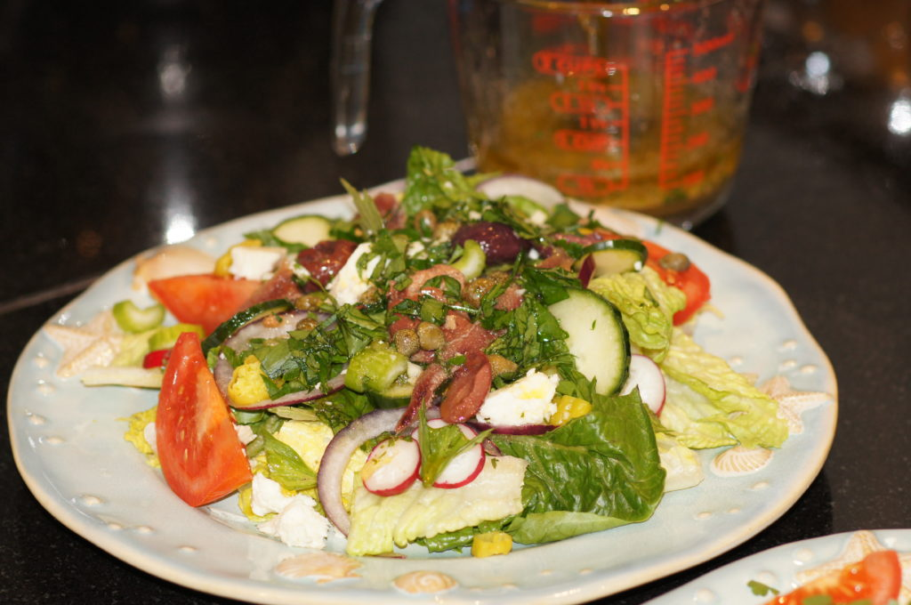 Greek Salad with Oil and Vinegar Dressing