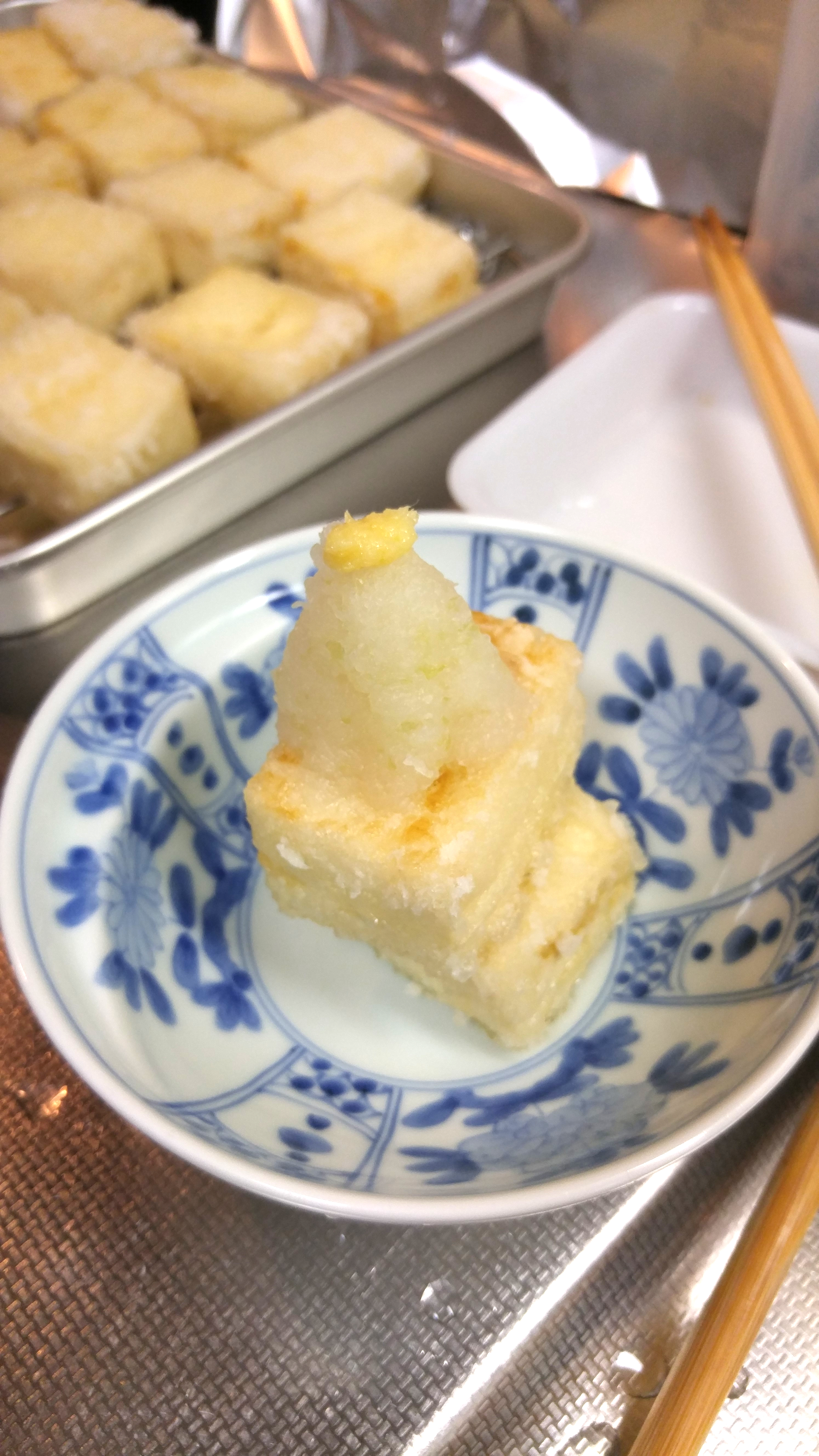 Agedashi Tofu with Daikon Radish and Ginger (before the sauce is added)