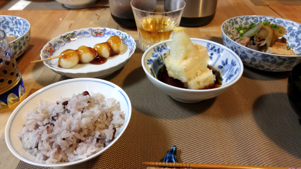 Mitarashi Dango, Barley Tea, Agedashi Tofu, and Rice