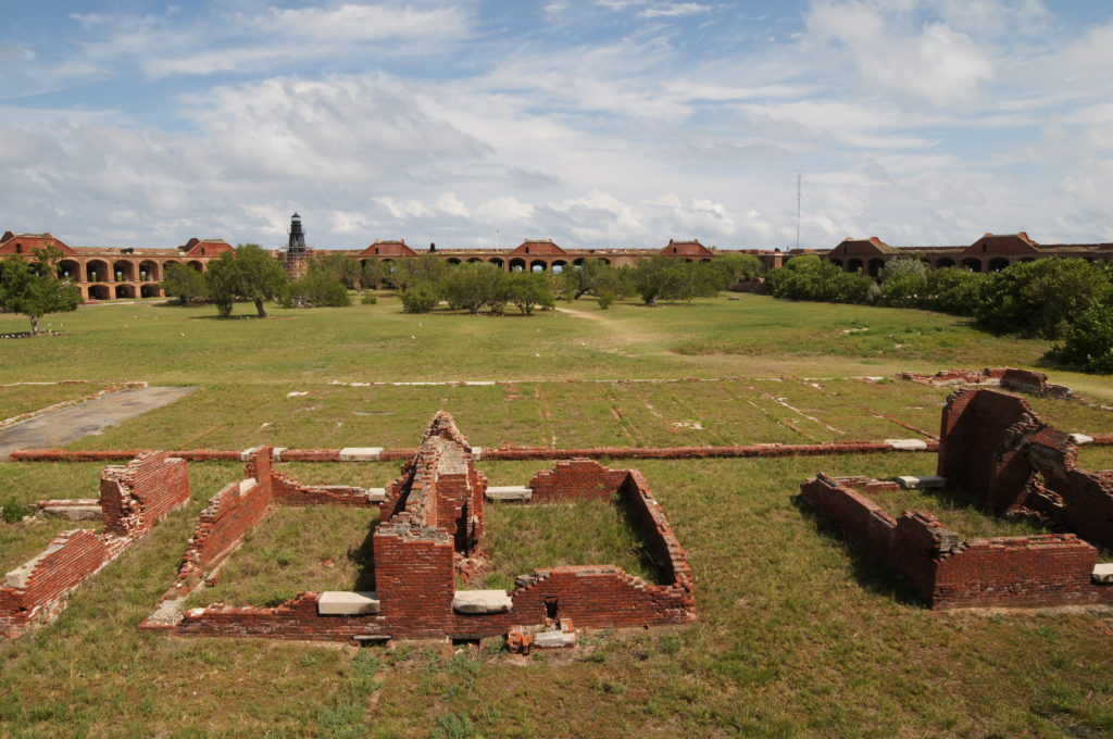 Fort Jefferson Officers' Quarters, Kitchen Foundations, and Parade Ground