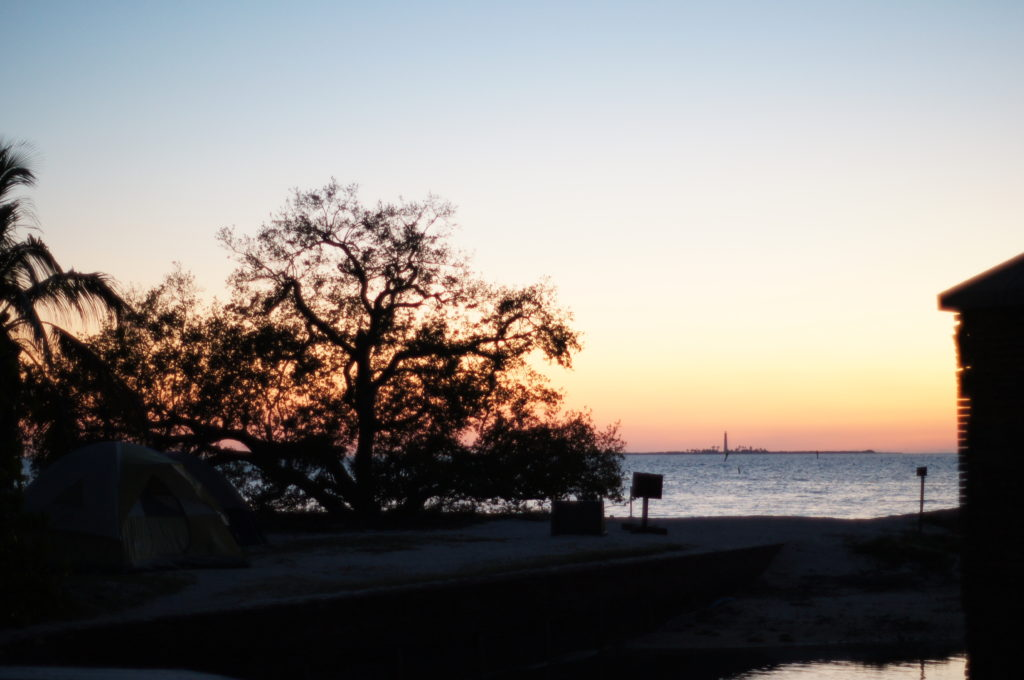 Campground at the Dry Tortugas National Park at Twilight