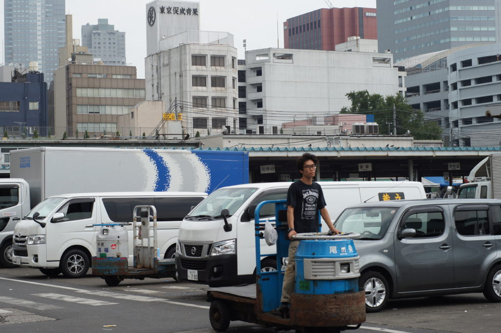 Worker on Small Truck in Tsukiji Market