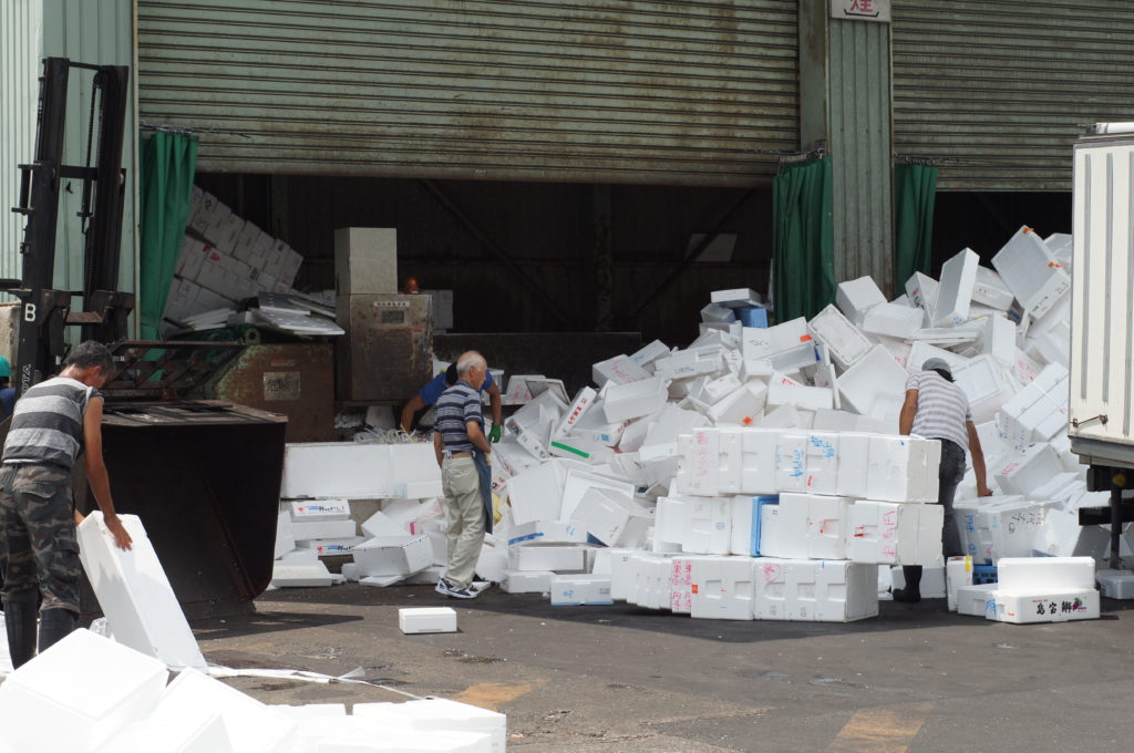 Workers Recycling Styrofoam Containers at Tsukiji Market