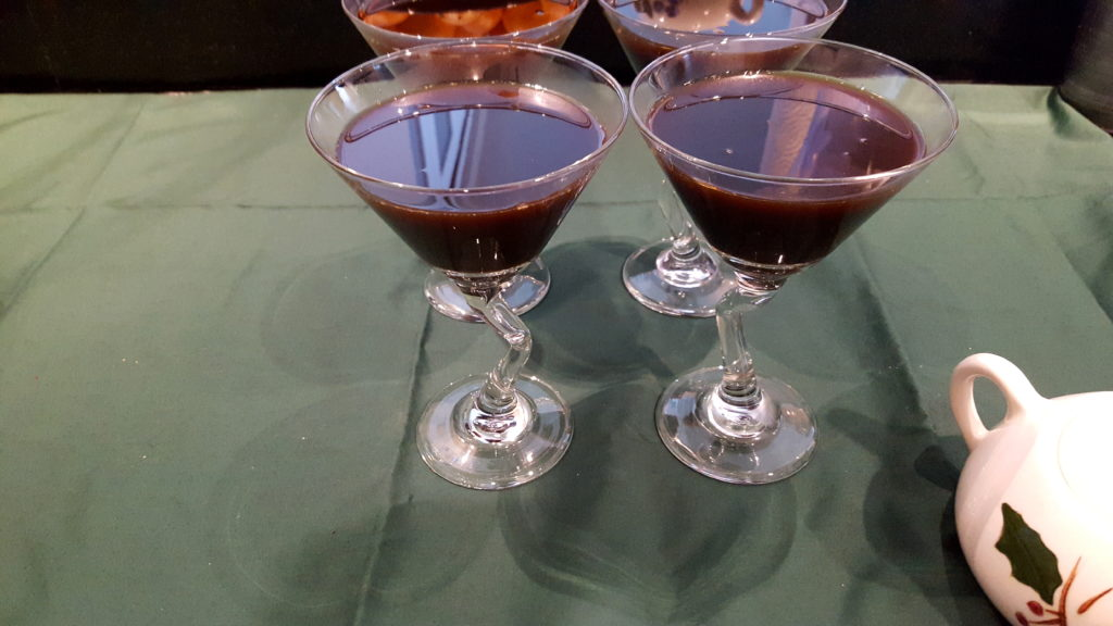 Coffee Gelatin Mixture Poured Into Martini Glasses