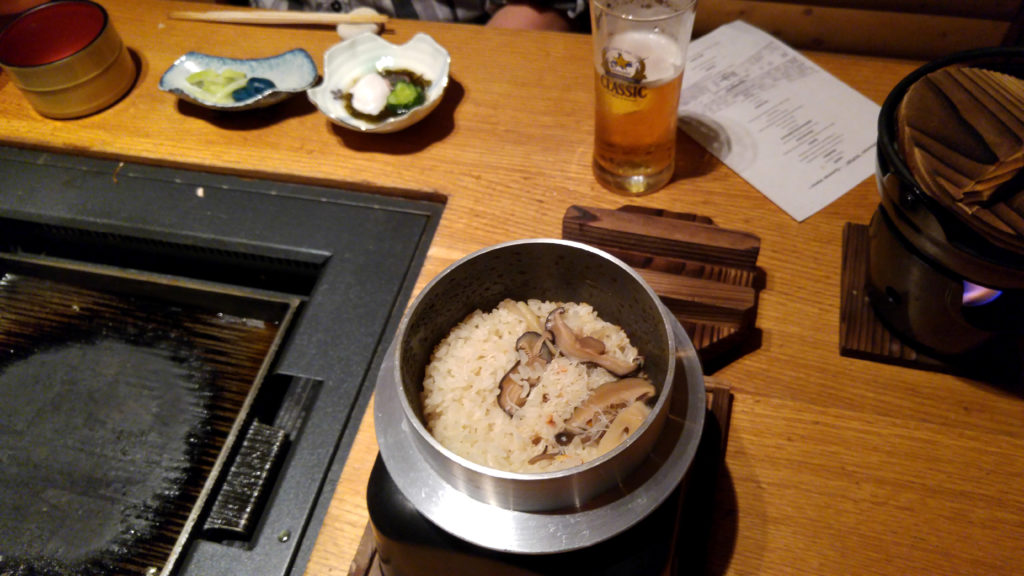 Rice with Crab and Mushrooms, Pickled Eggplant and Celery, Simmering Hotpot