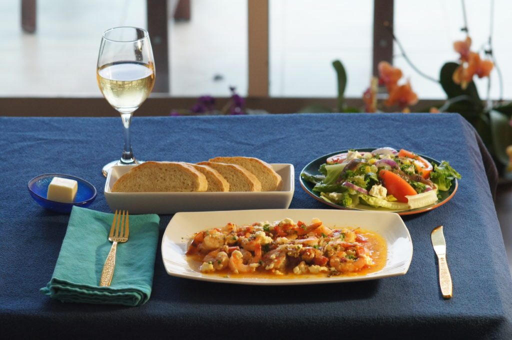 Baked Prawns, Greek Salad, and Fresh Bread with Butter