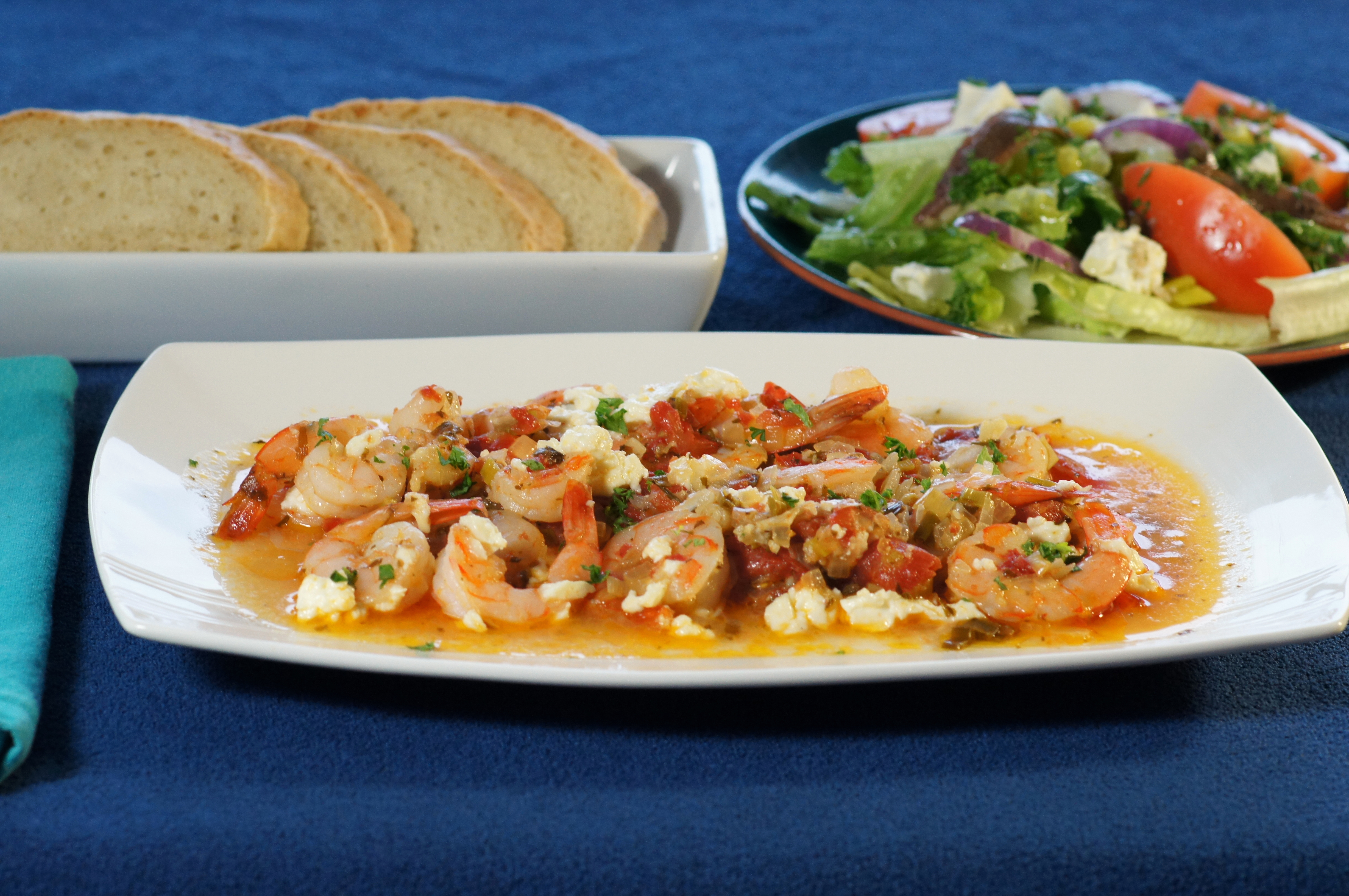 Baked Prawns in Tomato Sauce with Feta (Garithes Yiouvetsi)