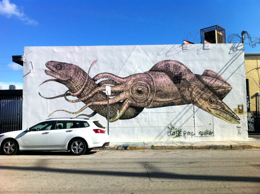 Eel, Squid, and Barracuda Mural in Wynwood