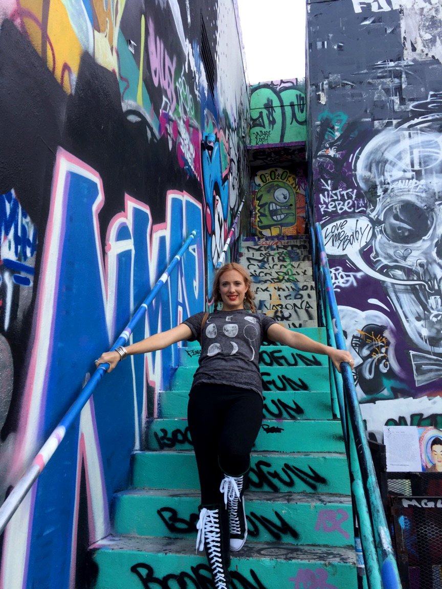 Me on Graffiti Staircase Surrounded by Art in Wynwood