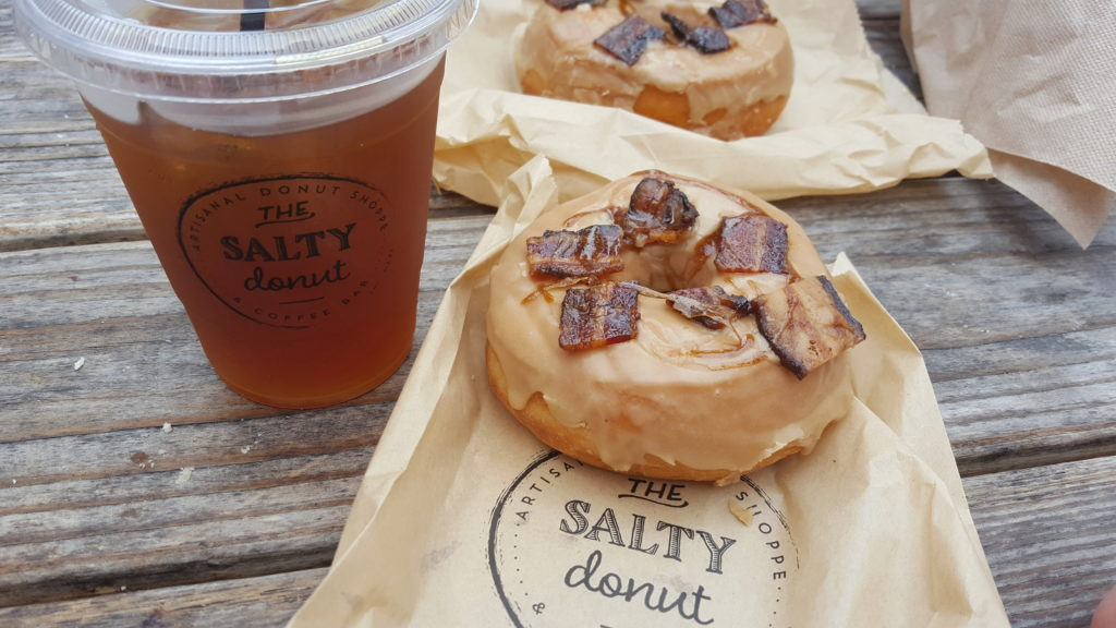 The Salty Donut Classic Maple Bacon Donut and Cold Brew Palmer