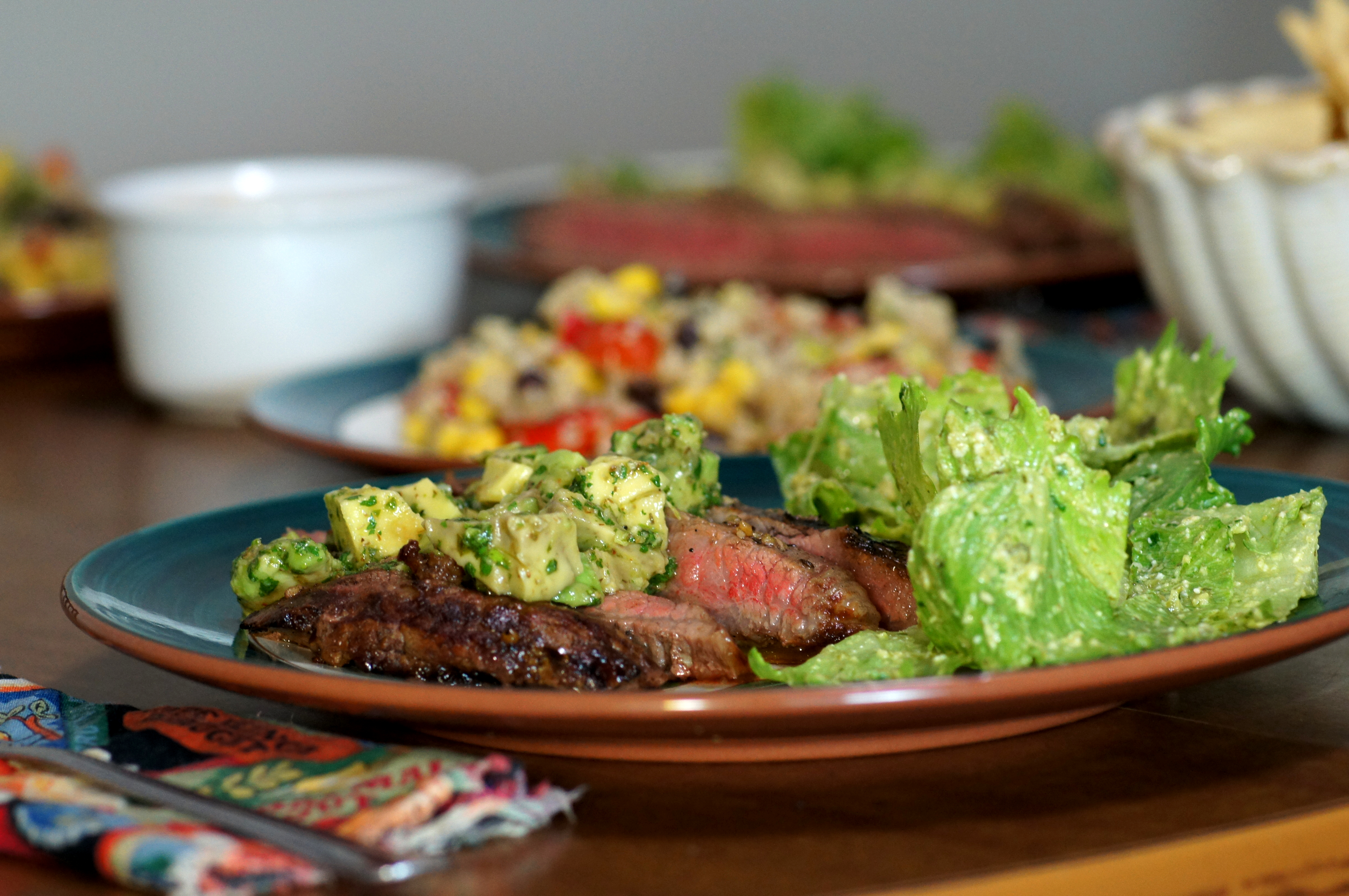 Churrasco with Avocado-Chimichurri Sauce and Mexican Cesar Salad