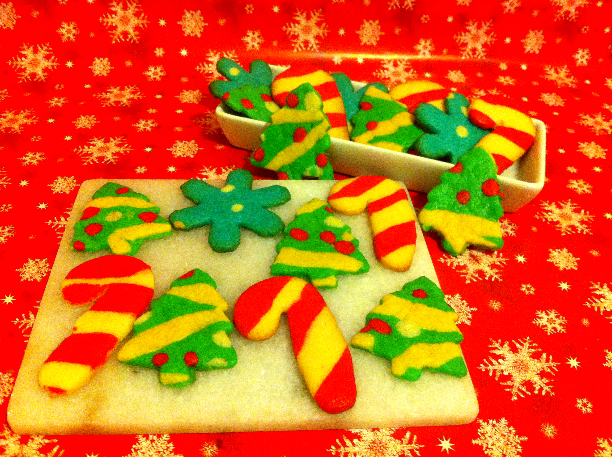 colored dough decorative cookies christmas cookies