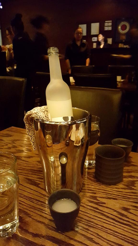 Bottle of Nigori (Unfiltered) Sake at Raku Restaurant in Las Vegas