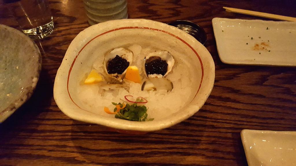 Mini Oysters with Sturgeon Caviar and Meyer Lemon at Raku Restaurant