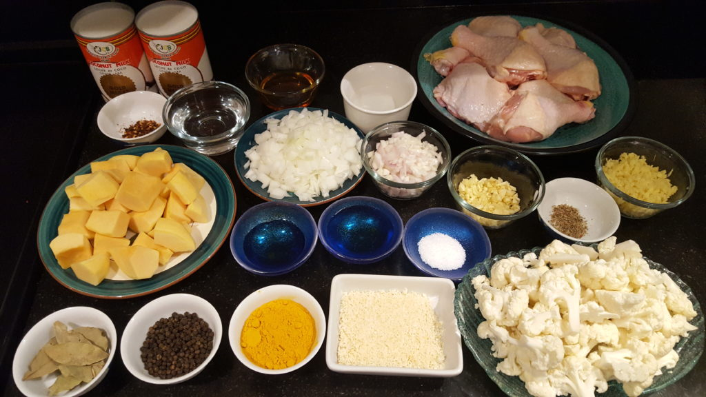Prepped Ingredients for Cooking Filipino Yellow Chicken Adobo