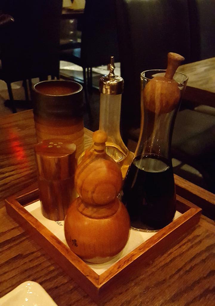 Raku's Green Tea Salt, Koregusu (Okinawan hot sauce), Soy Sauce, and Shichimi (Japanese Spice Blend)