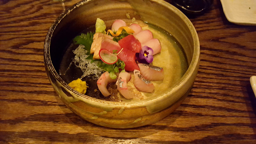 Sashimi with Pickled Chrysanthemum at Raku Restaurant in Las Vegas